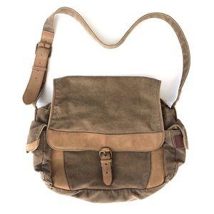 L.L. Bean Canvas Leather Messenger Crossbody Bag